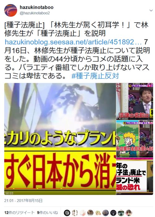 hazukinotaboo2ツイート・種子法廃止.PNG