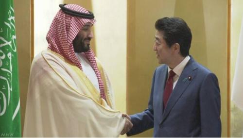 サウジアラビアのムハンマド皇太子と安倍晋三.PNG