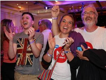 スコットランドのグラスゴーで独立反対派の住民.PNG
