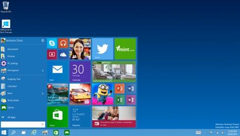 ツールバー左端のWindowsアイコンをクリックするとスタートメニューが表示される.PNG