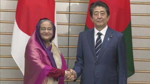 バングラデシュのハシナ首相と安倍晋三.PNG