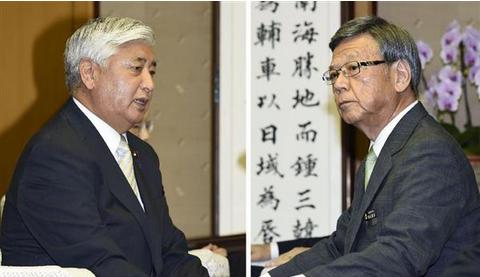 中谷防衛相(左)と翁長雄志知事.PNG