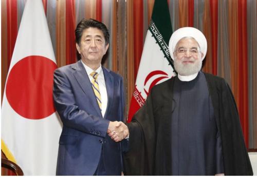 安倍晋三とイランのロウハニ大統領・NY.PNG