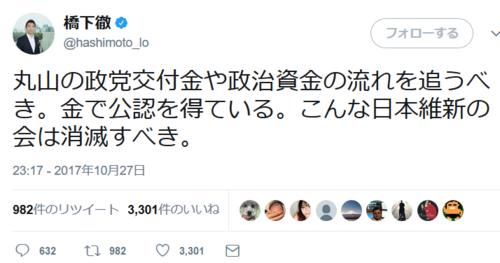 橋下徹ツイート・丸山の政党交付金.PNG