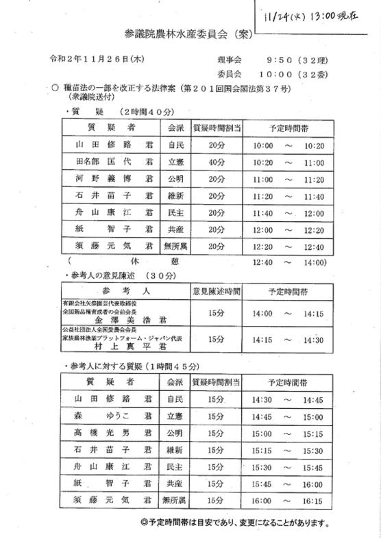 種苗法改正案・11月26日・参院農林水産委員会.PNG