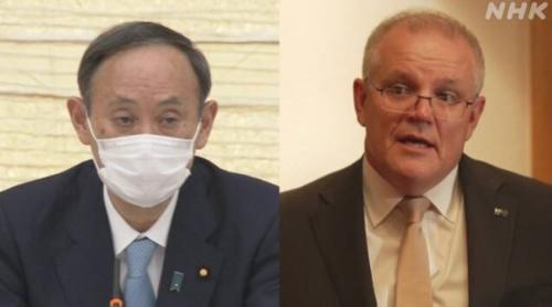 菅義偉とオーストラリアのモリソン首相・2月25日.PNG