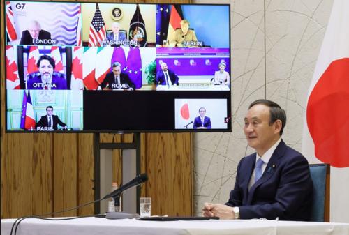 菅義偉・G7テレビ会議・2月19日.PNG