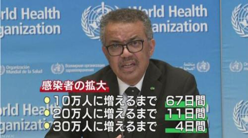 WHOのテドロス事務局長・パンデミックは加速している..PNG